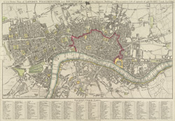 A new pocket plan of London, Westminster and Southwark with all the adjacent buildings. Also a correct lift of upwards of 300 hackney coach fares. 1797